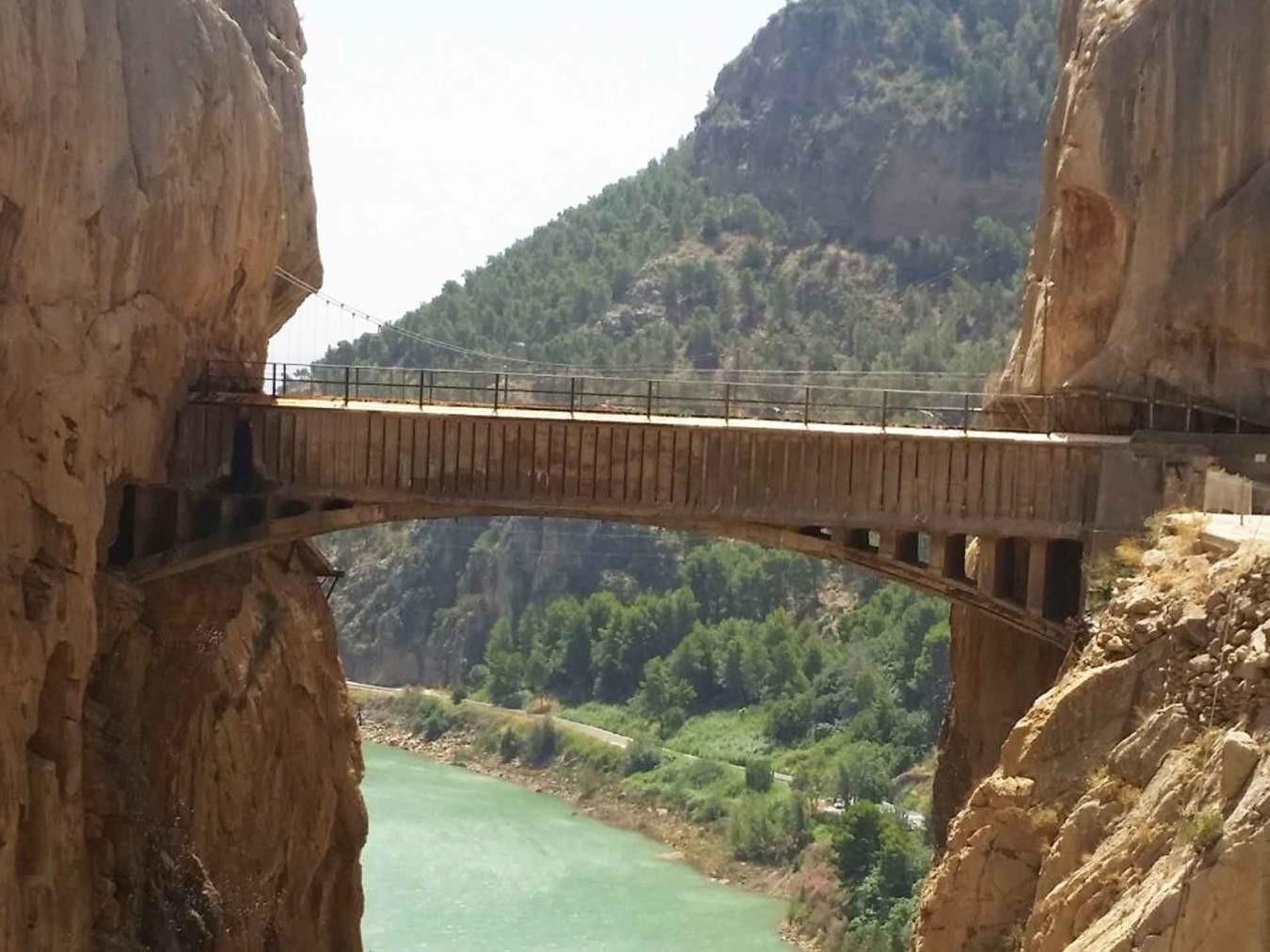 Close up of old bridge at Caminito del Rey